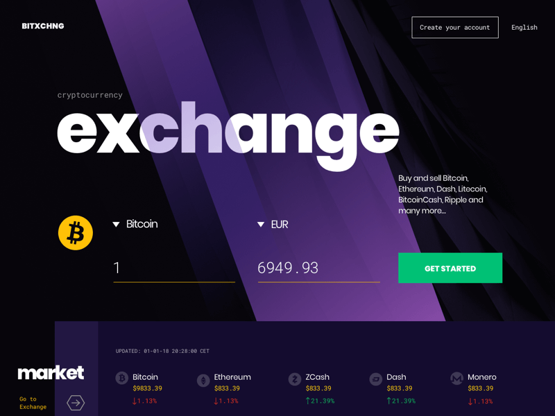 Cryptocurrency Exchange Landing Page